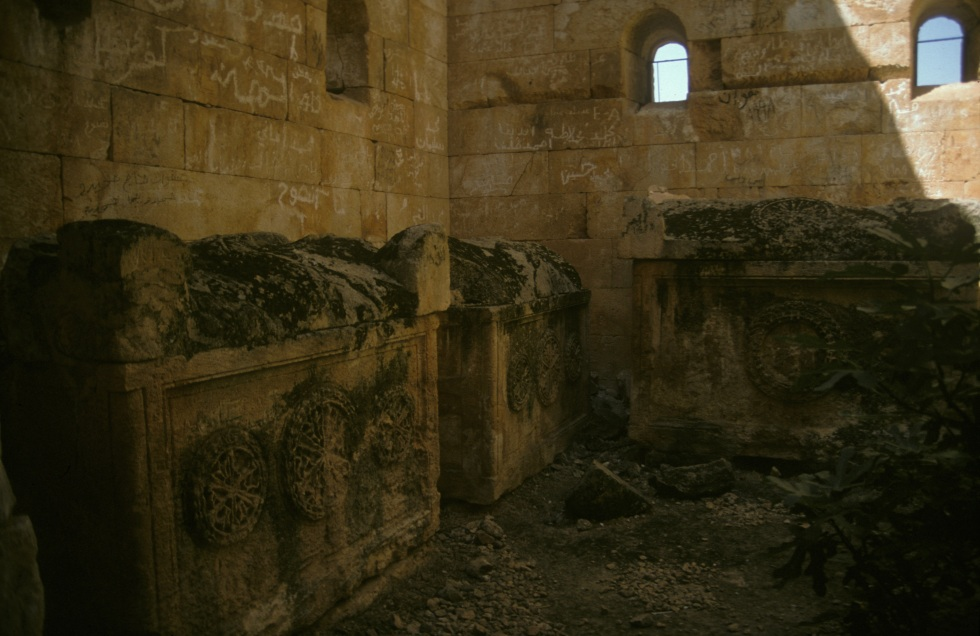 al-Bara - tomb interior, with sarcophagi